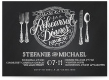 Chalkboard Place Setting Rehearsal Dinner Invitations