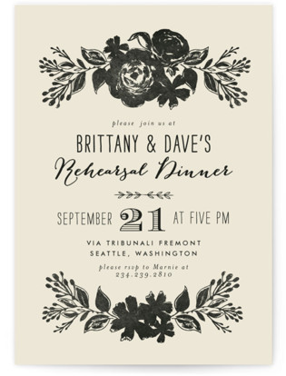 Dramatic Florals Rehearsal Dinner Invitations