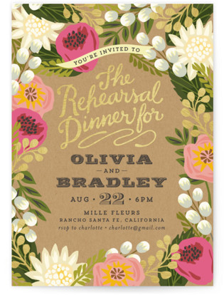 Floral Canopy Rehearsal Dinner Invitations