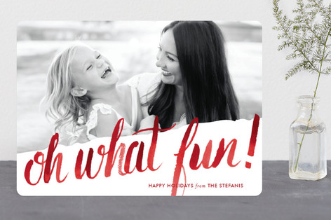 Oh What Water Color Christmas Photo Cards