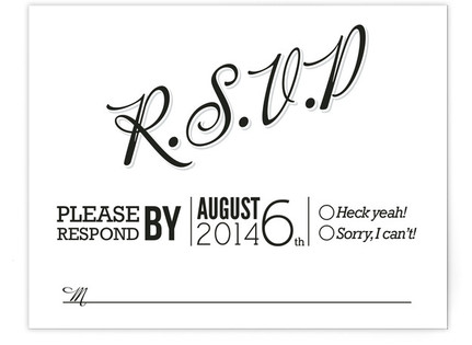Love Script RSVP Postcards