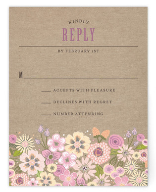 Burlap Bouquet RSVP Postcards