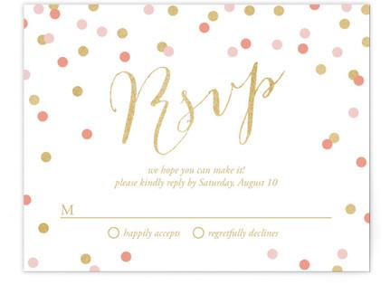 Golden Glittering Confetti RSVP Postcards