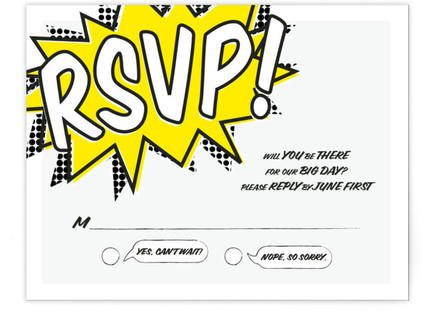 A Comic Book Love Story RSVP Cards