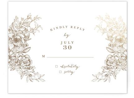 Engraved Flowers RSVP Cards