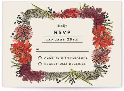 Dahlia Bouquet RSVP Cards