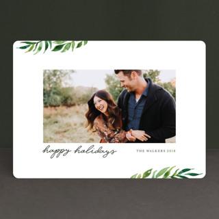 Minimal Greenery Holiday Photo Cards