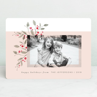 Corner Floral Holiday Photo Cards
