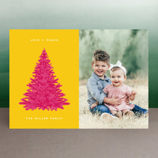 Pink Tree Holiday Photo Cards
