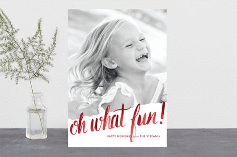 Oh What Water Color Holiday Photo Cards