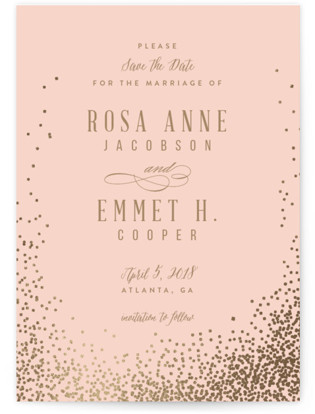 Bubbly Foil-Pressed Save the Date Cards