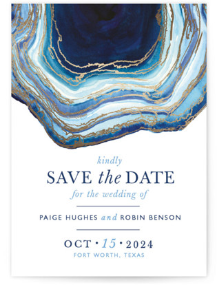 Gilt Agate Foil-Pressed Save the Date Cards