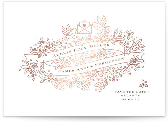 Ribbons Foil-Pressed Save The Date Cards