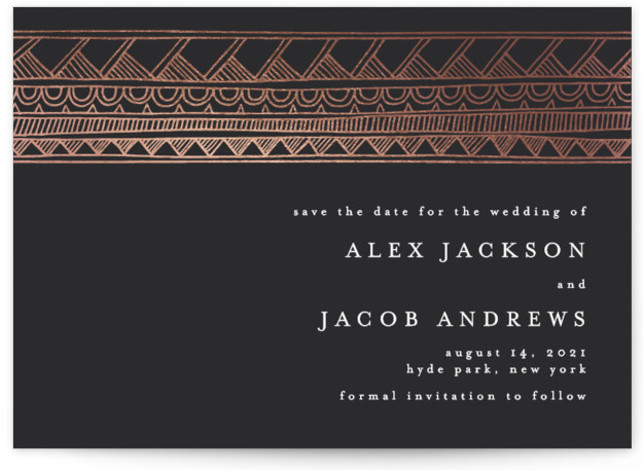 Deco Stripe Foil-Pressed Save The Date Cards