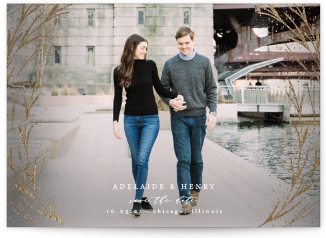Winter Air Foil-Pressed Save The Date Cards