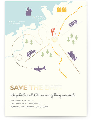 Destination Foil-Pressed Save the Date Cards