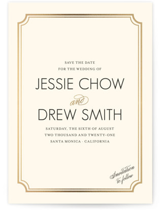 Modern Classic Foil-Pressed Save the Date Cards