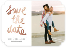 Painterly Foil-Pressed Save the Date Cards
