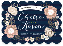 Striped Florals Foil-Pressed Save The Date Cards