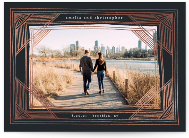 Bold Deco Frame Foil-Pressed Save The Date Cards