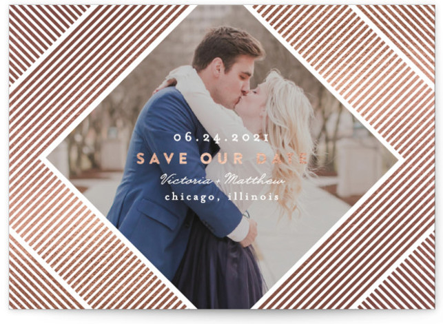 Chic Frame Foil-Pressed Save The Date Cards