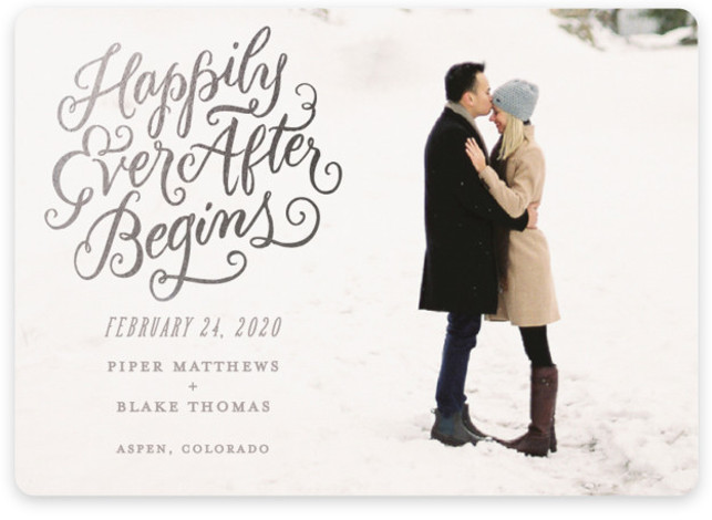 Happily Ever After Begins Foil-Pressed Save The Date Cards