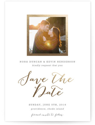 Modern Photo Frame Foil-Pressed Save the Date Cards
