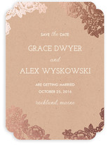 Lace and Kraft Foil-Pressed Save The Date Cards