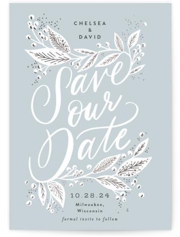 Scripted Botanicals Foil-Pressed Save The Date Cards