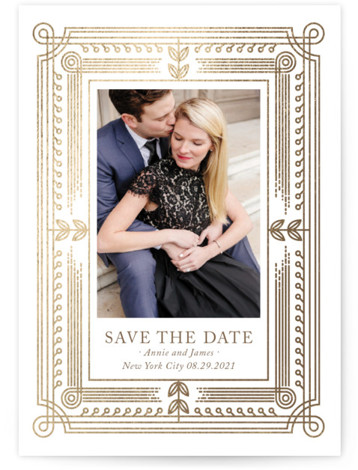 Modern Frame Foil-Pressed Save The Date Cards