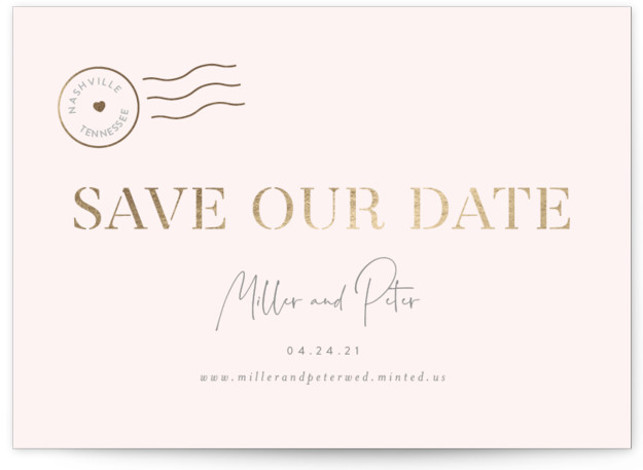 Postmark Foil-Pressed Save The Date Cards