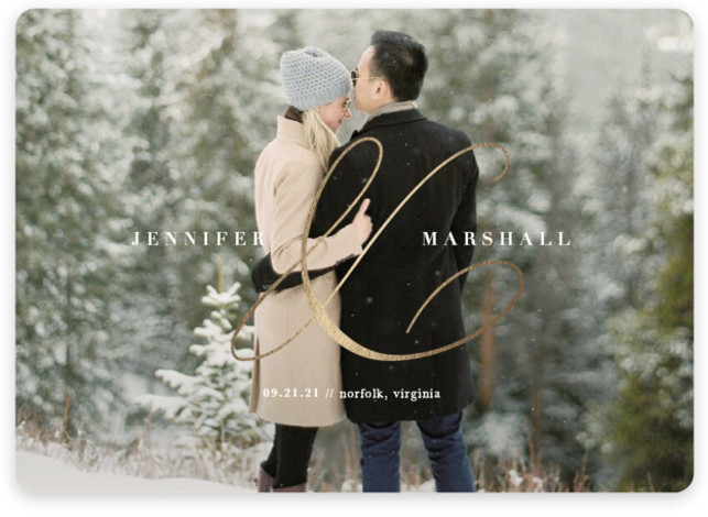 Stylish Ampersand Foil-Pressed Save The Date Cards