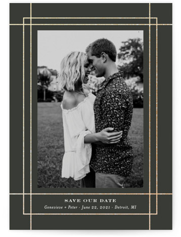 Intersecting Frame Foil-Pressed Save The Date Cards