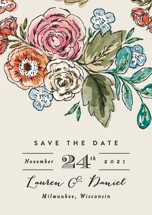Dramatic Floral Date Save the Date Petite Cards