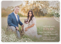 White Lace Save The Date Magnets