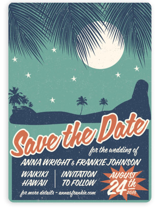 Retro Hawaii Save the Date Magnets