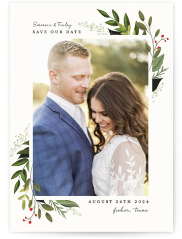Vines of Green Save The Date Postcards