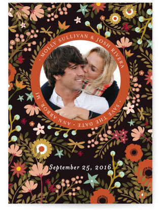Retro Florals Save the Date Postcards