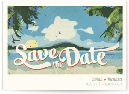 Vintage Tropical Save the Date Postcards