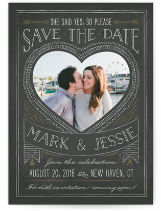 Chalkboard Heart Save the Date Postcards
