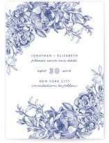Engraved Flowers Save The Date Cards