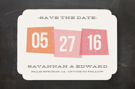 Vintage Blocks Save The Date Cards