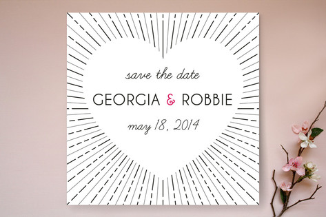 Heart and Sunburst Save The Date Cards