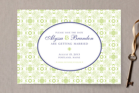 Brocade Frame Save The Date Cards