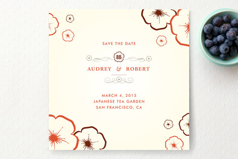 Plum Blossoms Save The Date Cards
