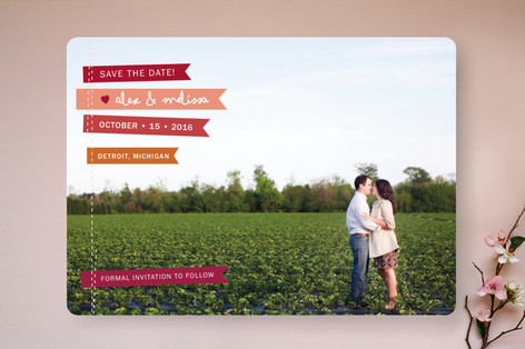 Stitched Flags Save The Date Cards