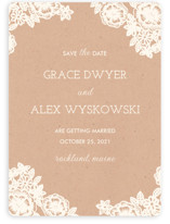 Lace and Kraft Save the Date Cards
