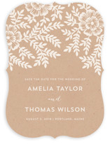 Leaves and Kraft Save the Date Cards