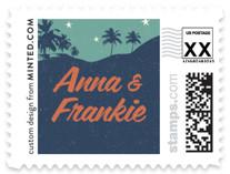 Retro Hawaii Wedding Stamps