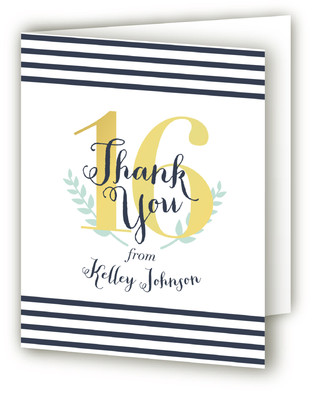A Golden Sixteenth Sweet Sixteen Party Thank You Cards